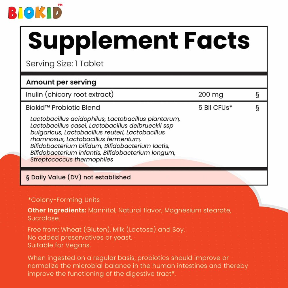 BioKid Probiotic Chewable Supplement Facts