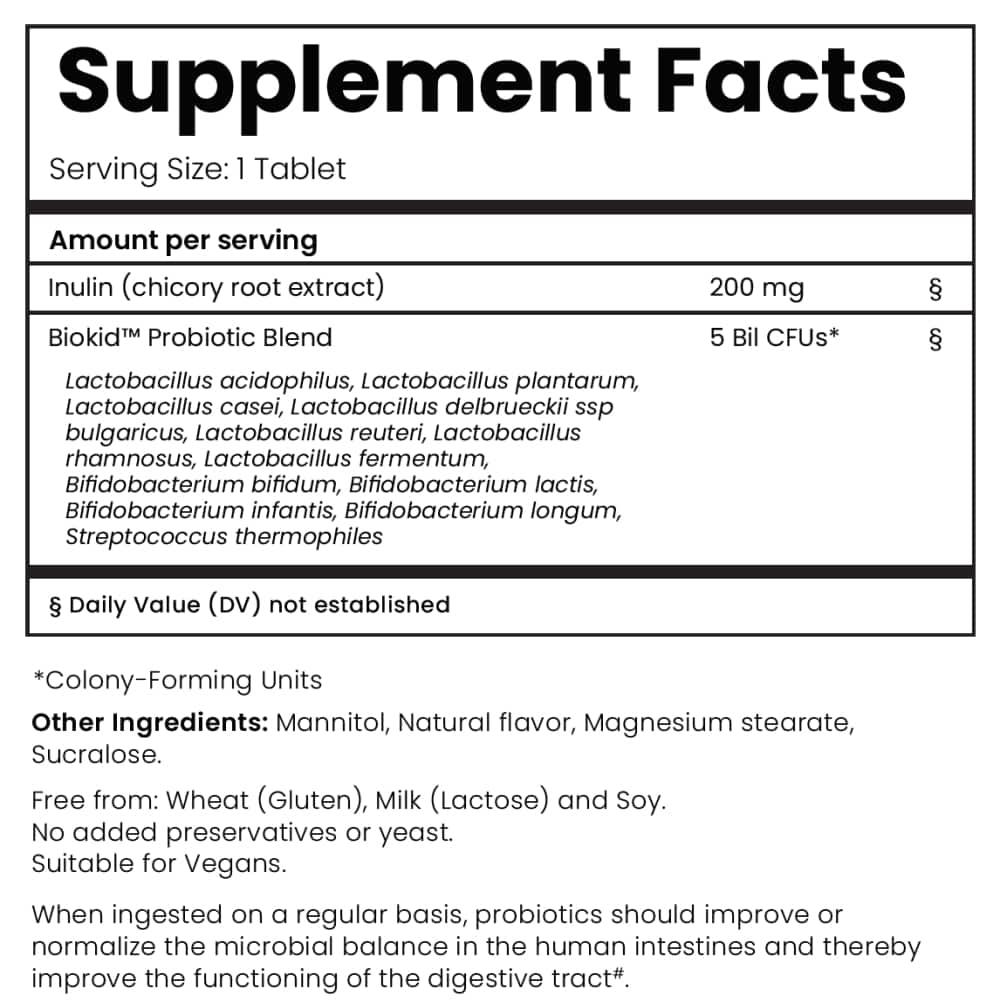 BioKid Probiotic Chewable - Supplement Facts